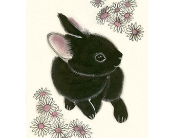 "Black Bunny Rabbit art print -  Little Black Bunny - 8.3"" X 11.7"" animal portrait - 4 for 3 SALE"