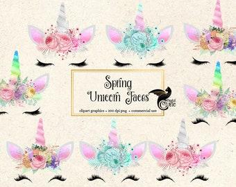 Spring Unicorn Clipart, unicorn faces, rainbow, pink and rainbow unicorn horn clip art, floral unicorn , pastel unicorns, pretty eyelashes