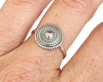 Sterling Silver Ring, Silver Ethiopian Ring, Silver Round Ring, Ethnic Jewelry, Tribal Ring, Circle Ring, Oxidized Silver Ring, Band Ring