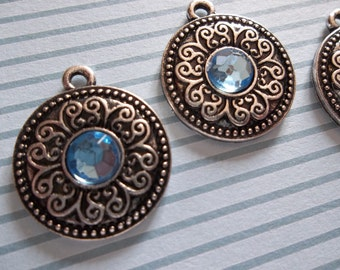 Blue & Antiqued Silver Scroll Pattern Charms or Pendants - Qty 3