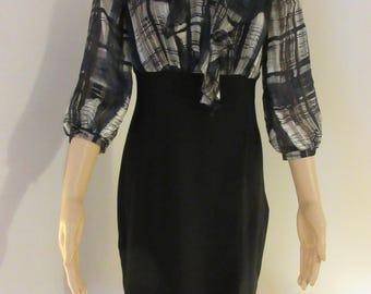 BEAUTIFUL 'Wallis' Dress With Black Shirt Part & Flouncy Blouse Top Size 10 - Cute!!