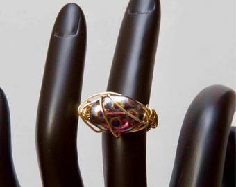 Czech glass wire wrapped ring