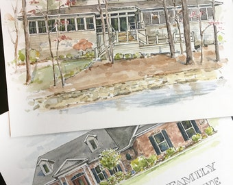 """8"""" x 10"""" Watercolor Home Commission"""