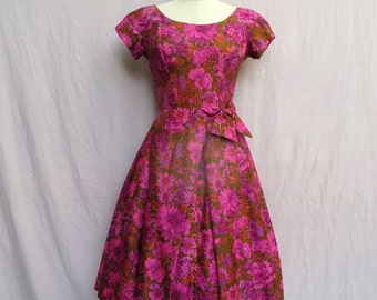 """Vintage 1950's Fit and Flare Dress/Suzy Perette/Rose Print Full Skirt Dress//Pink Floral Silk Full Skirt Dress/28"""" Waist/Small"""