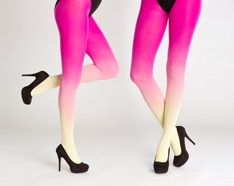 Ombre tights / yellow-magenta ombre tights / opaque tights