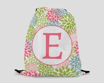 Child's Drawstring Backpack - Colorful Flowers - Personalized Bag - Sports Bag - Beach Bag - Pool Bag - Ballet Bag