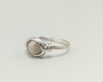 Round White Turquoise Gemstone Stone Silver Plated Wire Wrapped Ring Bohemian Gypsy hippe Jewelry BOHO
