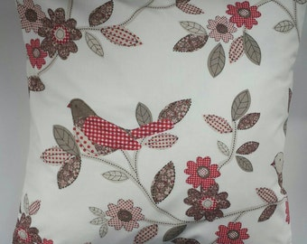 """Cushion Cover in Red Patchwork Bird 16"""""""
