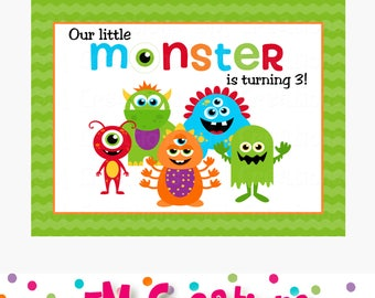 Monster Party Sign - Monster Birthday Party Poster- Little Monster Printable Party Backdrop - Personalized Birthday Banner