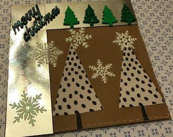 stylized Christmas card, Christmas tree, base craft