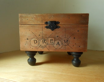 Dream Box,  Dream, Discover, Destiny, Painted and Embossed Wood Box, Box With Feet, Metallic Bronze
