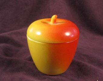Hazel Atlas Milk Glass Red / Yellow Apple Jelly Jar