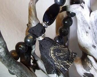 Mens Beaded Bracelet Mens Boho Bracelet Labradorite Onyx Bracelet Mens Chic Bracelet Labradorite Bracelet Tassel Bracelet Cool Mens Gift
