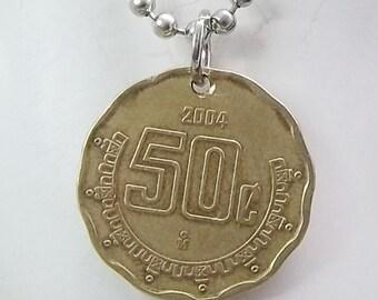 Coin Necklace, Mexican 50 Centavos, Coin Pendant, Men's Necklace, Women's Necklace, 2004