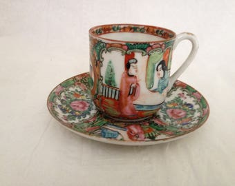 Chinese Export Rose Medallion Demitasse Tea Cup and Saucer, Egg Shell Porcelain, Small chip on Saucer