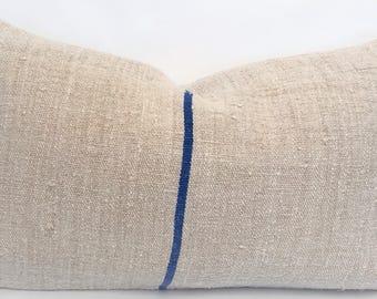 """Authentic Grain Sack Pillow Cover - Cobalt Blue Stripe - Measures Approx. 21""""x13"""""""