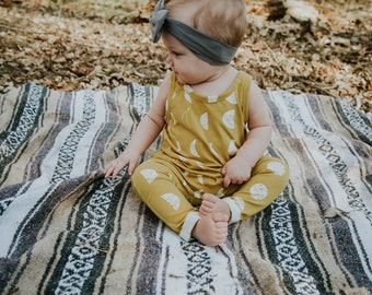 Bohemian Babies mustard mood phase knit romper//Gender neutral romper//Baby romper/Baby overalls/Pant romper/0-3 months to 5/6/Made to order