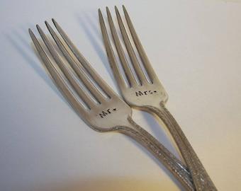 Mr. Mrs forks, I do Me Too Forever and a Day Wedding Fork Set , Cake Dinner , Hand Stamped ,  Vintage Silver Plated Flatware, hand stamped,