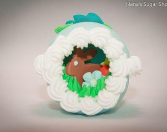 Panoramic Sugar Easter Egg, Sugar Eggs, Sugar Easter Eggs, Extra Small Sugar Egg with End View - Blue