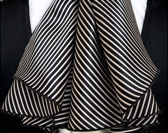 Cabaret Black and Ivory Striped Satin Ascot by Kambriel - Unisex Design - Brand New & Ready to Ship!