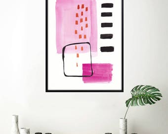 Downloadable PRINTABLE wall art, home decor, black and white abstract art, large pink abstract painting, modern minimalist abstract print 01