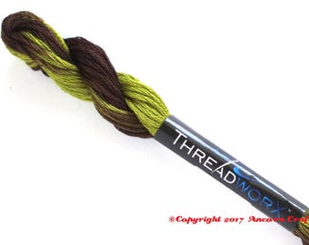Variegated Embroidery Floss ThreadworX 10362 Green Applewood