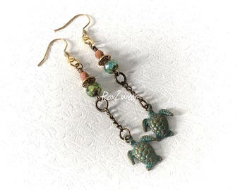 Patina turtle charm Czech glass earrings
