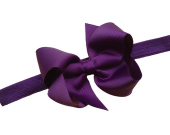 Dark purple baby headband - baby headbands, baby headband bows, baby girl headband, newborn headband, baby bows, baby bow headband, bows
