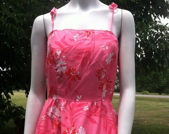 1960's vintage Malia of Honolulu rockabilly sundress/60's pink Malia sundress/60's Malia summer dress-small
