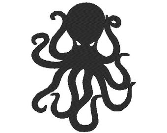 Steampunk Octopus Silhouette fill stitch designs, many mini sizes (.pes .hus .dst .vp3 .vip .xxx .exp .jef) embroidery fill stitch