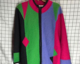 Vintage Wool High Neck Colorblock Geometric Zip Up Cardigan
