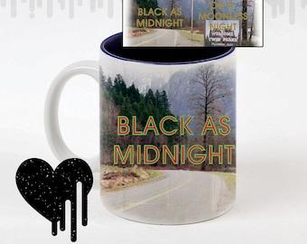 twin peaks - blacks midnight on a moonless night - black coffee- coffee mug - white mug - black inside - custom mug
