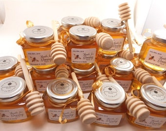 Mini honey customized for wedding with spoon