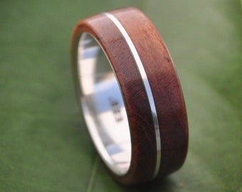 Size 7, 7mm READY TO SHIP Asi Guapinol Wood Ring - sustainable wedding ring in rosewood