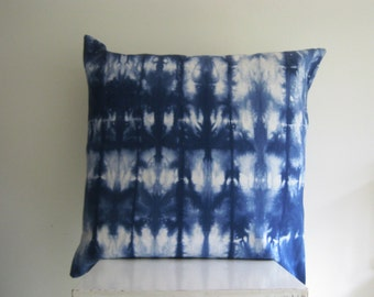 XLarge 24 x 24  Free Style Shibori Pillow Cover in Navy Blue