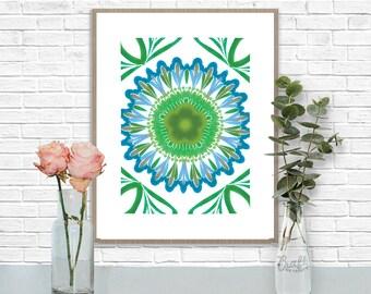 Bali Blues 4 Digital Print • Kaleidoscope Mandala Bright Island Pattern • Instant Download • Home Decor Wall Art • Printable Poster Artwork