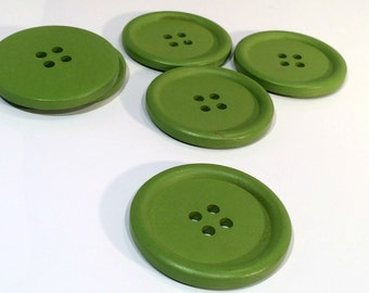 4 Painted Wood Button Four Hole Green Colour 40mm - 4 Pack PWB56