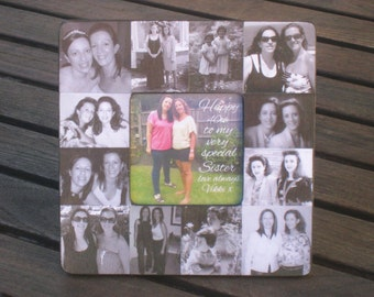 """Personalized Sister Gift, Maid of Honor Picture Frame, Custom Collage Bridesmaid Frame, 30th, 40th, 50th Unique Birthday Gift, 8"""" x 8"""""""