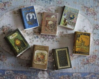 Dollhouse Miniature set of 7 classic books with illustrated covers (n.3)
