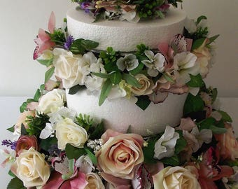 Centrepiece tiered wedding cake decoration, faux silk with roses, lilies, orchids, peony, foliage, wedding