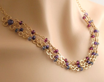 Multi Gem Necklace in Amethyst, Garnet, Iolite, 14K Gold Filled; Layered Necklace; Natural Stone Jewelry; January February Birthstone