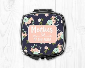 Mother of the Bride Gift Ideas from Bride Pink Floral Personalized Compact Mirror Mother of the Bride Wedding Gift for Mom nvywed1