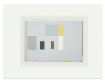 abstract geometric, colourblock original handmade screenprint in muted colours by Emma Lawrenson