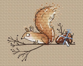 Little Squirrel with gift acorn Counted Cross Stitch pdf chart instant download Squirrel by SVStitch