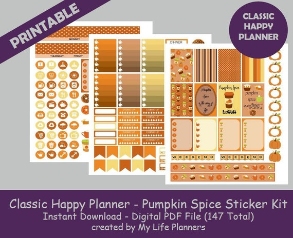 Pumpkin spice classic happy planner printable stickers weekly