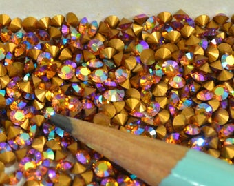 Swarovski Chaton Cut Rhinestones PP 20 SS 9 2.60-2.70 mm Topaz AB Pointed Back Foiled 24 pcs Crystal Clay Jewelry Making Article 1012