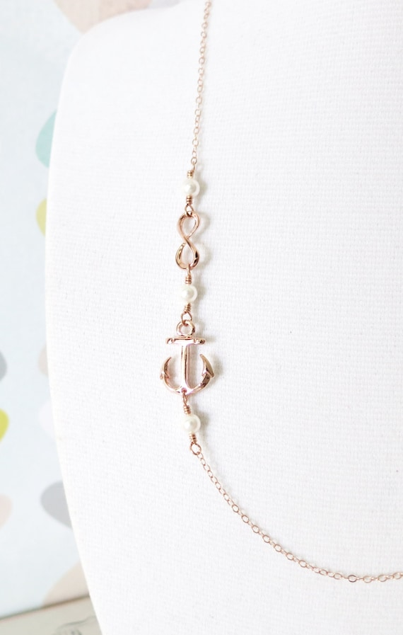 Forever Anchored Rose Gold Anchor and Infinity necklace - simple rose gold filled chain, best friends, sisters, mum, navy, sea, teacher