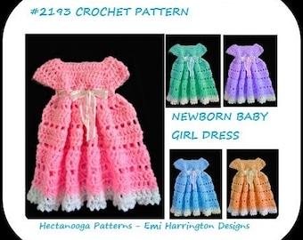 crochet baby dress pattern, new baby dress, shower gift, newborn to 3 months, #2193, free crochet patterns