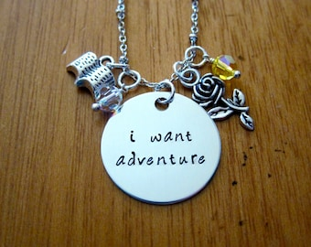 Beauty and the Beast Inspired Necklace. Belle: I want adventure. Silver colored,  Swarovski Elements crystal, for women or girls