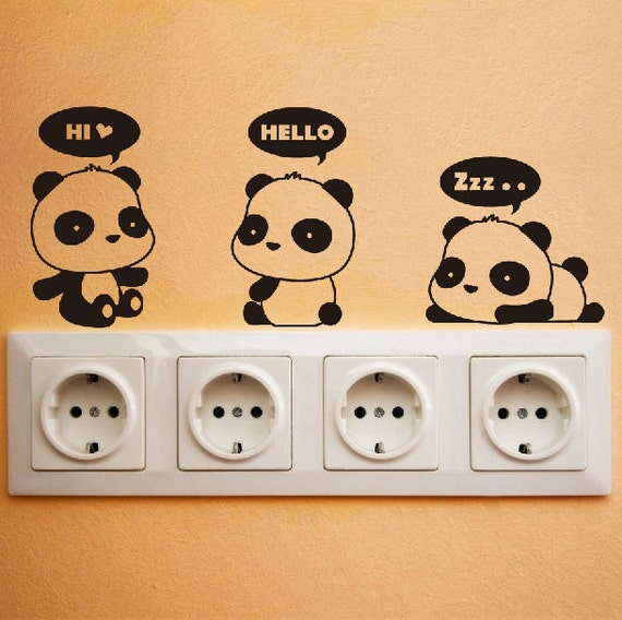 Cute Panda Wall Decal DIY Wall Sticker Wall decor Vinyl